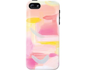 Pink Skies Abstract Art Cell Phone Case (fits all types of phones) - Pink Abstract Pattern - Tough case with rubber bumper and liner