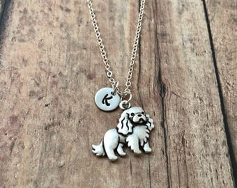 Cavalier King Charles Spaniel initial necklace - King Charles Spaniel jewelry, dog jewelry, spaniel jewelry, King Charles Cavalier necklace