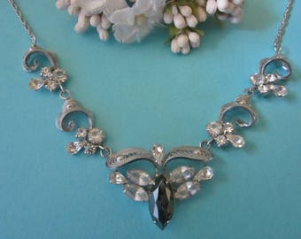 Vintage Sterling Necklace with Rhinestones and Hematite