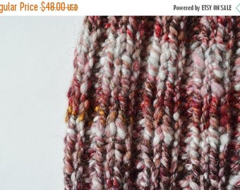 First Fall Sale - 15% Off Traditional Fit Beanie - Hand Knit Hat in Red, Cream, White, Gold, Brown, Copper Sparkle Handspun Yarn. Chunky Kni