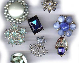 vintage single earrings BOX LOT blues backs cut off glamourous EIGHT bridal bouquet hot glue embellishment earrings repurpose