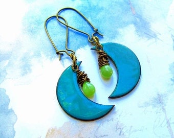 Inspirational earrings Boho Earrings boho jewelry Moon earrings turquoise earrings Enamel dangle drop earrings Bohemian jewelry