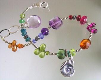 Nautilus Shell Charm Beaded Bracelet, Intense Multi Gemstone Sterling Layering Bracelet, Elegant and Dainty, Exquisite Gems, Boho Jewelry