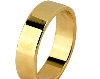 Memorial Day Sale 14 kt  Yellow Gold Classic Smooth Cigar Style 4mm Wide Commitment or Wedding Band Custom made Size 8.5 through 12