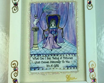 PRINCESS - Mini Jeweled Framed Print, cat, whimsical funny sayings, Lulu, girlfriend gifts, bridesmaid gifts, humorous illustrations by Sher