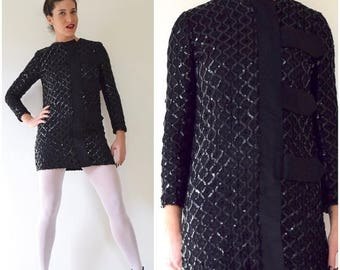 SUMMER SALE/ 30% off Vintage 60s Black Sequin Crocheted MOD Mini Dress (size xs, small)