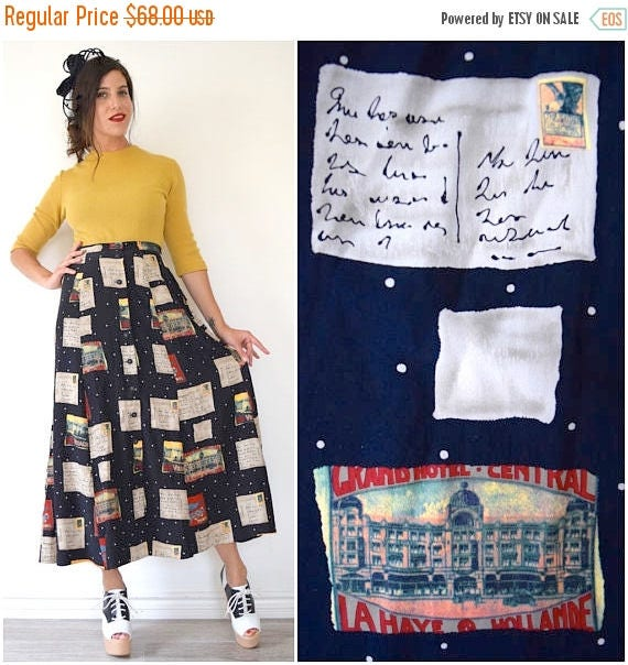 SUMMER SALE / 20% off Vintage 90s Postcards Home Novelty Print High Waisted Button Front Silk A Line Midi Skirt (size small, medium)