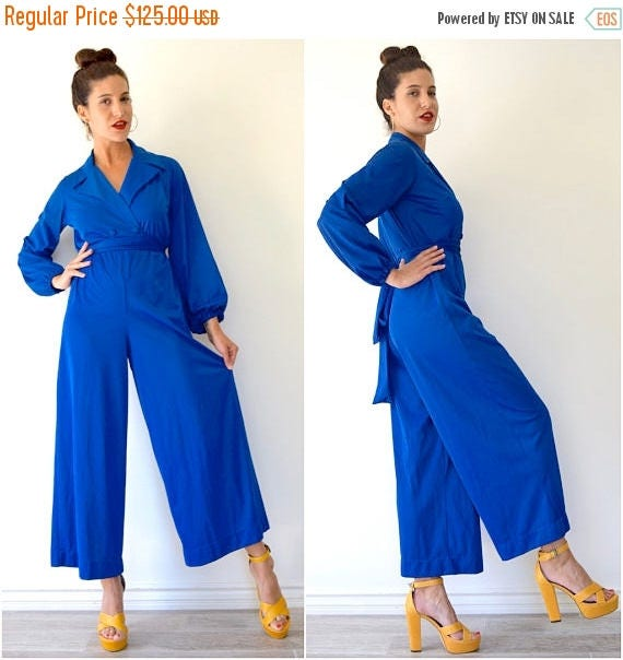 SUMMER SALE / 20% off Vintage 60s 70s Vanity Fair Royal Blue Palazzo Pant Lounging Jumpsuit (size xs, small)