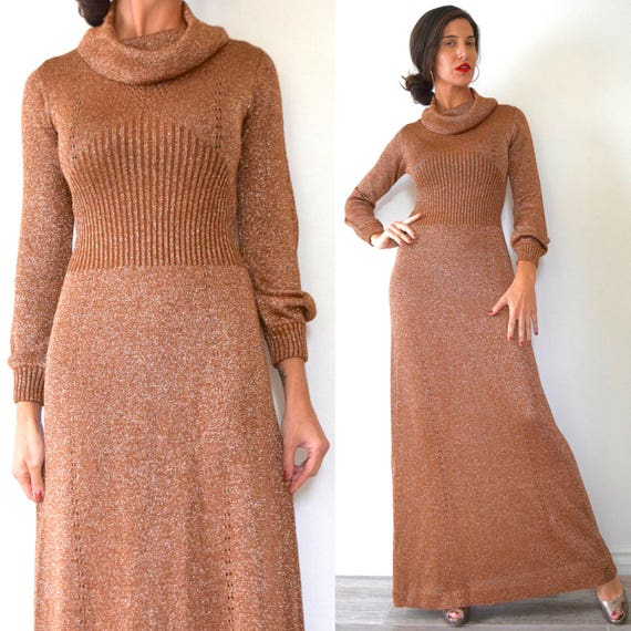 Vintage 70s Metallic Copper Lurex Knit Cowl Neck Sweater Dress (size small, medium)
