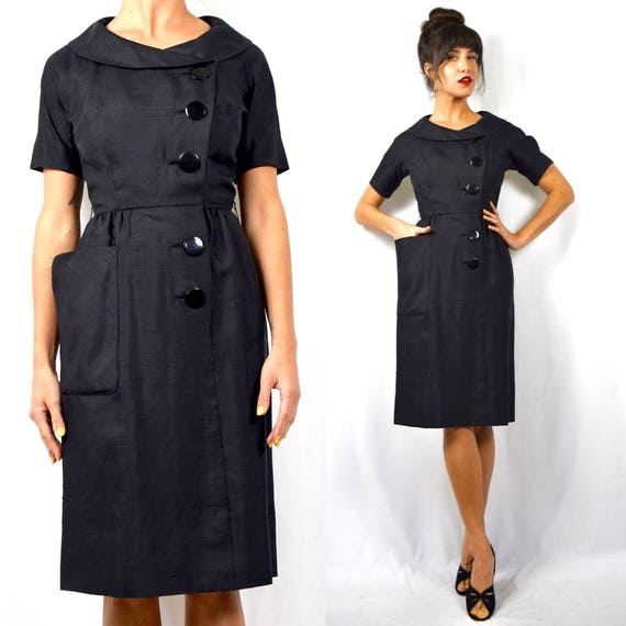 Vintage 50s 60s Raw Black Silk Hourglass Silhouette Bombshell Wiggle Dress (size xs, small)