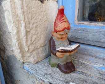 Vintage Antique 1930s  German  adorable reading gnome dwarf  hand painted terra-cotta  statue