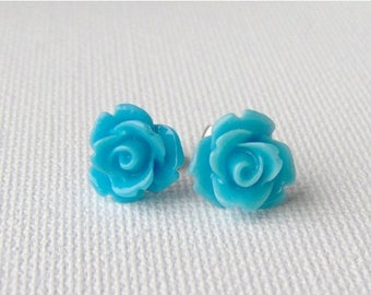SALE Blue rose surgical steel stud earrings / resin rose / gift for mothers day / girlfriend gift / gift for her / hypoallergenic earrings