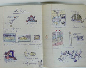 Antique French School Chemistry Notebook - 21 pages drawned.