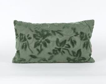 Green Velvet Lumbar Pillow Cover 20x12 - vintage upholstery fabric, luxury pillow, mid century home decor, handmade by EllaOsix