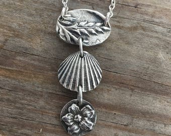 Sterling silver land and sea necklace