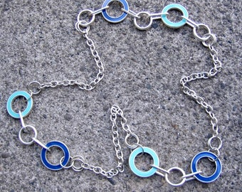 Eco-Friendly Statement Necklace - Quantum Leap - Recycled Vintage Chain, Metal Rings and Ovals, Enameled Metal Hoops in Aqua and Royal Blue