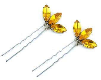 Yellow Lotus Rhinestone Hair Pins - Yellow Crystal Hair Pins, Yellow Wedding Hair Accessories