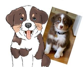 Custom Cartoon Pet Portrait, Cartoon Portrait, Dog Portrait, Cat Portrait, Pet Lover Gift, Dog Mom Gift, Gift for Her, Pet Loss, Custom Pet