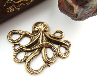 ANTIQUE BRASS * Sea Creature Octopus Stamping - Jewelry Ornamental Findings ~ Oxidized Brass Stamping (E-24)