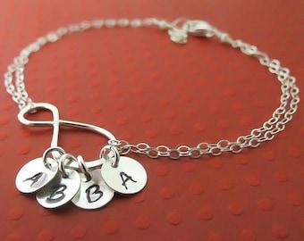 ON SALE Infinity Bracelet, Personalized Bracelet  Sterling Silver Handmade Infinity Jewelry,Up to Four Initials, Family Bracelet, Grandma Gi