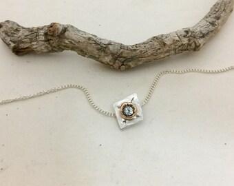 Tiny  Necklace, Topaz Necklace, 14kt Gold Charm Necklace, November Birthstone Necklace, Geometric Necklace, Diamond Shape, Gift for Women