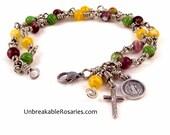 Custom Order For Nichole | Two Strand St Benedict Rosary Bracelet Millefiori Glass