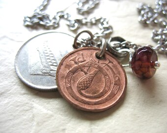 Agate Necklace, Coin Jewelry, Agate Gemstone Coin Charm Necklace, Agate Birthstone Coin Jewelry, Handmade Artisan Necklace