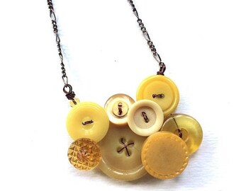 BUTTON JEWELRY SALE Small Honey Gold and Mustard Yellow Vintage Button Necklace