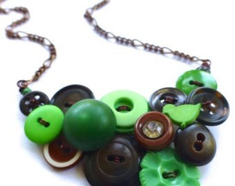 BUTTON JEWELRY SALE Button Necklace with Green and Brown Repurposed Vintage Buttons - Statement Jewelry