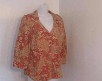 Vintage Blouse Button Down Vee Neck Ladies Blouse by Jamaica Bay size Medium