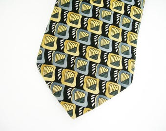 "Jerry Garcia Mens Necktie - 100% Silk Made in USA - ""Butterfly Trap"" Collection 14 - Black, Gray, Tan, Gold, White - Vintage Art Tie"