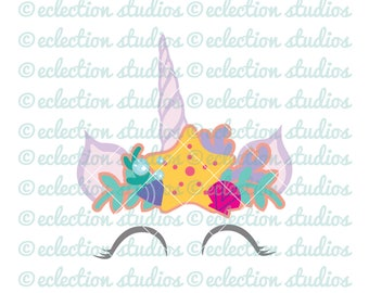Unicorn SVG, Unicorn horn and ears mermaid crown, unicorn face paper cake topper SVG, DXF, eps, jpg, png file for silhouette/cricut machine