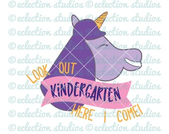 Unicorn SVG,Back To School SVG, Look Out Kindergarten, Here I Come, Unicorn back to school cut file for cricut or silhouette, commercial use