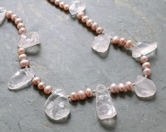 Rose Quartz and Pink Pearl Necklace  Pink Pearl and Gemstone Necklace  Rose Quartz Statement Necklace  Pink Pearl Wedding Necklace