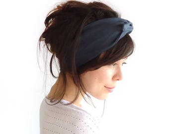 READY TO SHIP Tie Up Headscarf Midnight Blue