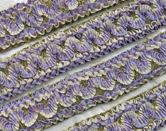 "Vintage French Ombre Lavender Ruched Passementerie Trim...Metallic Threads, Antique Ruffled RibbonTrim...Early 1900s...1+3/8"" wide, 12"" long"