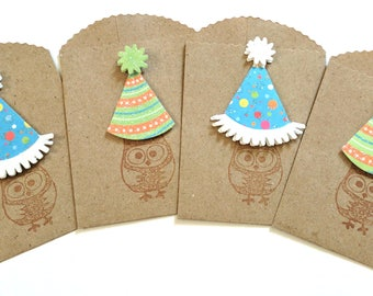 Birthday Owls Small Kraft Bags/Gift Card Holders - Set of 4 Holders
