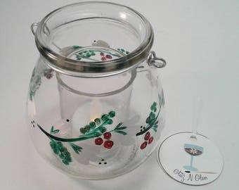 Hand Painted Glass Votive Jar With Boughs And Berries