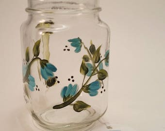 Hand Painted Blue Floral Mason Pint Jar Glass