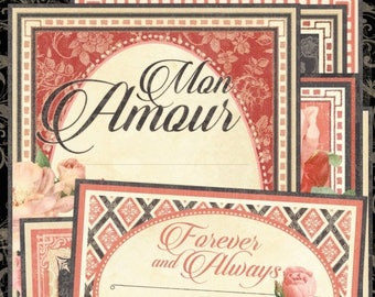 NOW ON SALE Graphic 45 Mon Amour Ephemera Cards