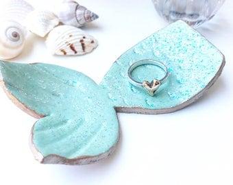 Aqua mermaids tail ring dish bridesmaid gift