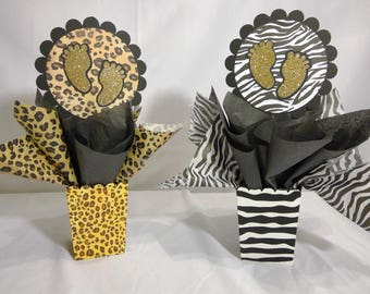 animal print baby shower decoratins
