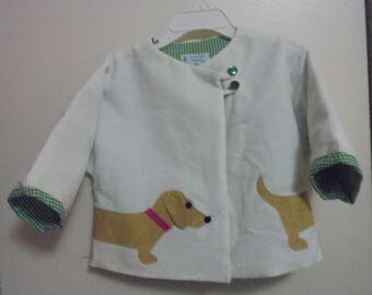 Girl's Little Doggie Car Coat-Tiny Wale White Corderoy Fabric with Doggie Applique-Fully Lined-Easy Care-Assorted sizes