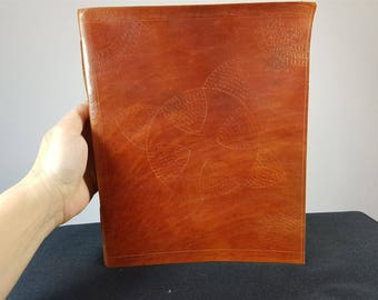 Vintage Hand Tooled Brown Leather Large Note or Sketch Book with Hand Made Paper Pages with Flower Petals