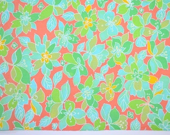 Cherry Blossoms in Spring Greens and Bright Aqua on Salmon: Lightweight Wool Japanese Kimono Fabric BTY