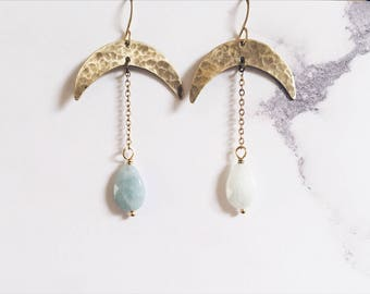 Thin crescent moon earrings and light blue aquamarine gemstones, brass and blue earrings, celestial boho chic