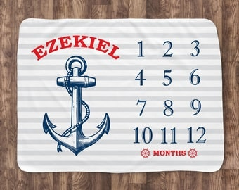 Baby Month Milestone Blanket- Anchor Nautical - Boy - Personalized Baby Blanket - Track Growth and Age - New Mom Baby Shower Gift