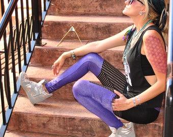Qadesh Festival Pants - pocket leggings - Sparkle Pants - Spandex Pants -womens leggings - lace leggings - Festival clothing - dance pants