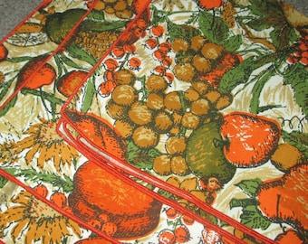 Vintage MOD 60s Orange Fruit Motif Napkin LOT of Three