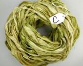 Silk Sari Ribbon, Sari silk ribbon, recycled ribbon, green sari ribbon, silk ribbon, rug supply, knitting supply, sage green ribbon